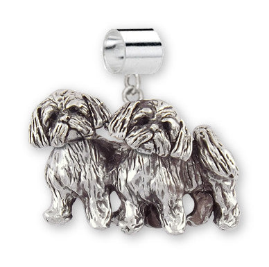 Lhasa Apso Charm Slide Handmade Sterling Silver Dog Jewelry LSZ24-PNS