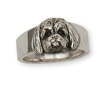 Lhasa Apso Ring Handmade Sterling Silver Dog Jewelry LSZ4-R