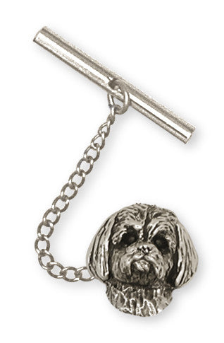 Lhasa Apso Tie Tack Handmade Sterling Silver Dog Jewelry LSZ4-TT