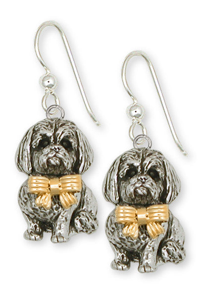 Lhasa Apso Earrings Silver And 14k Gold Dog Jewelry LSZ5W-E