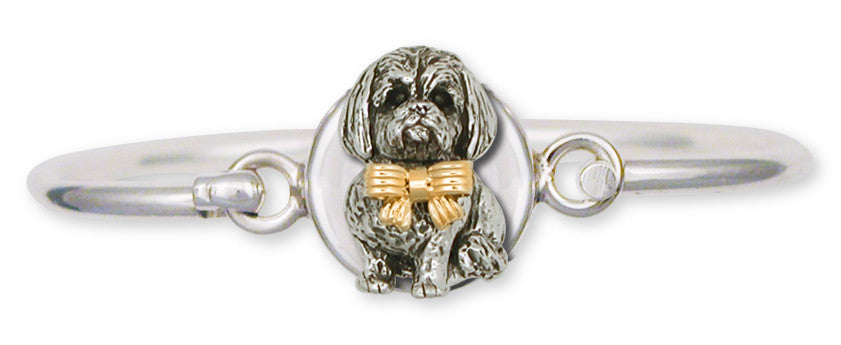 Lhasa Apso Bracelet Silver And 14k Gold Dog Jewelry LSZ5W-HB