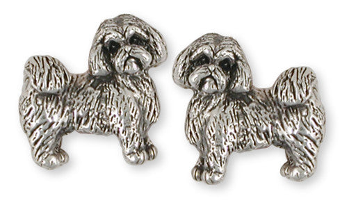 Lhasa Apso Cufflinks Handmade Sterling Silver Dog Jewelry LSZ8-CL