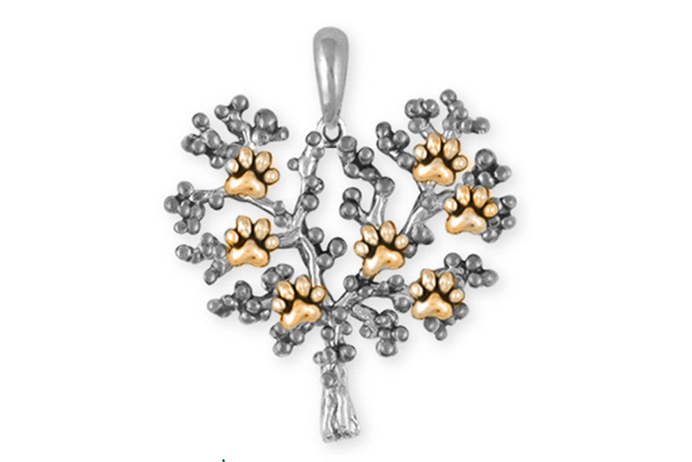 Paw Tree Of Life Charms Paw Tree Of Life Pendant Silver And Gold Dog Jewelry Paw Tree Of Life jewelry