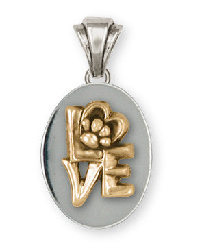 Pet Memorial Rainbow Bridge Pendant Jewelry Handmade Sterling Silver And 14k Gold M14-PT