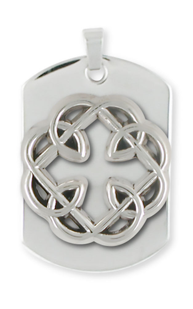 Celtic Knot Father And Daughter Cross Dog Tag Jewelry Handmade Sterling Silver MFC1-DT