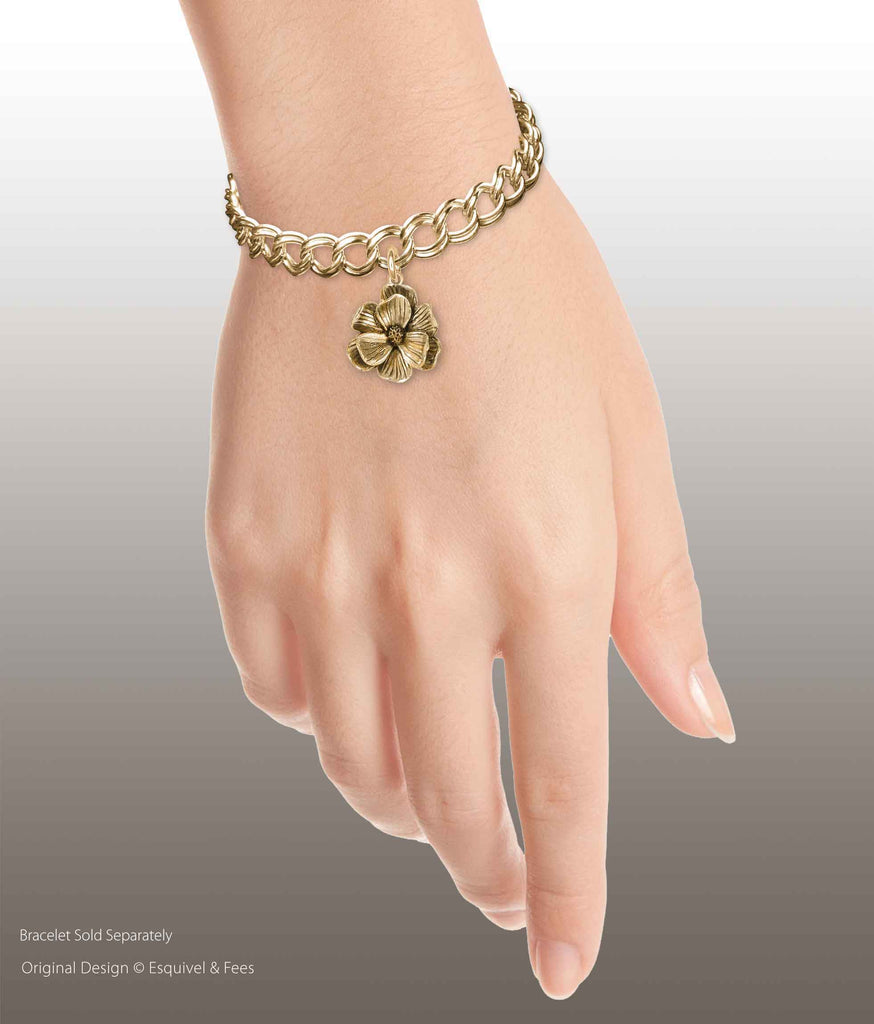 Magnolia Jewelry 14k Yellow Gold Handmade Magnolia Charm Slide This Charm Will Fit A Pandora® Slide Bracelet MG7-PNSG