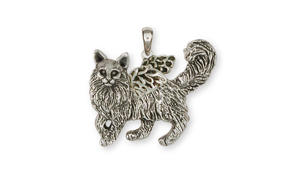 Maine coon angel cat pendant handmade sterling silver esquivel and maine coon angel charms maine coon angel pendant handmade sterling silver cat jewelry maine coon angel aloadofball Gallery