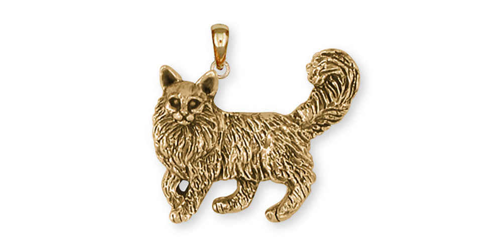 Maine Coon Charms Maine Coon Pendant 14k Yellow Gold Vermeil Cat Jewelry Maine Coon jewelry