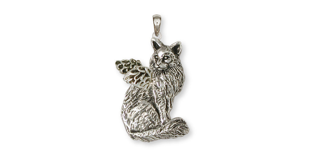 Maine Coon Angel Cat Charms Maine Coon Angel Cat Pendant Handmade Sterling Silver Cat Jewelry Maine Coon Angel Cat jewelry