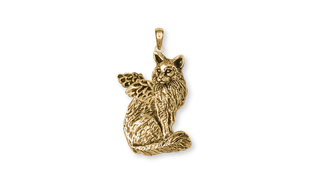 Maine Coon Angel Cat Charms Maine Coon Angel Cat Pendant 14k Yellow Gold Vermeil Cat Jewelry Maine Coon ANGEL Cat jewelry