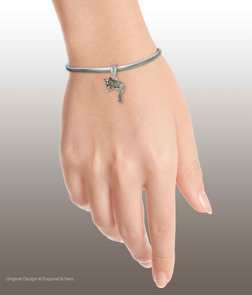 Maine Coon Cat Jewelry Sterling Silver Handmade Cat Slide Bracelet And Charm  MN3-PNSBR