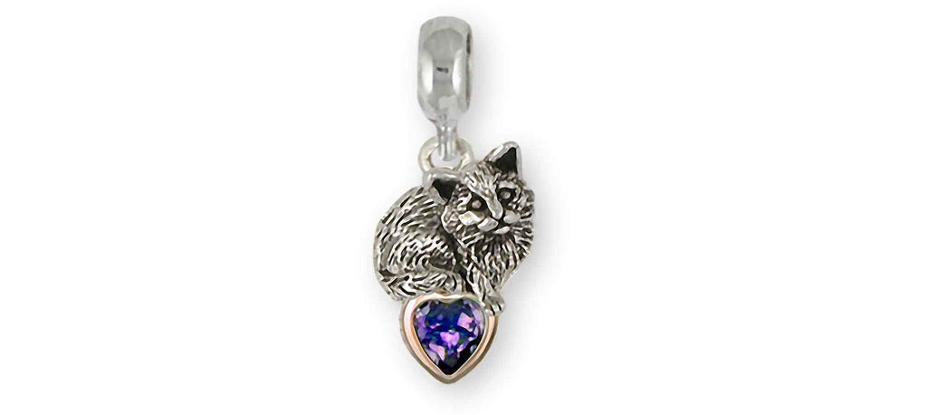 Cat Charms Cat Charm Slide Silver And 14k Gold Cat Jewelry Cat jewelry