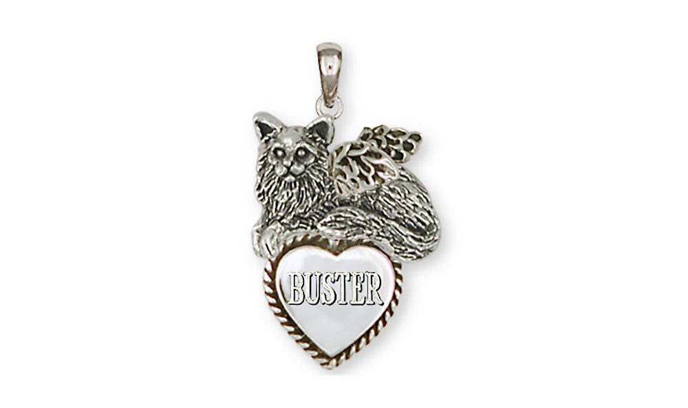Maine Coon Angel Cat Charms Maine Coon Angel Cat Personalized Pendant Handmade Sterling Silver Cat Jewelry Maine Coon Angel Cat jewelry