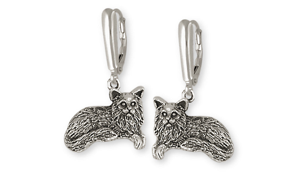 Maine Coon Cat Charms Maine Coon Cat Earrings Handmade Sterling Silver Cat Jewelry Maine Coon Cat jewelry