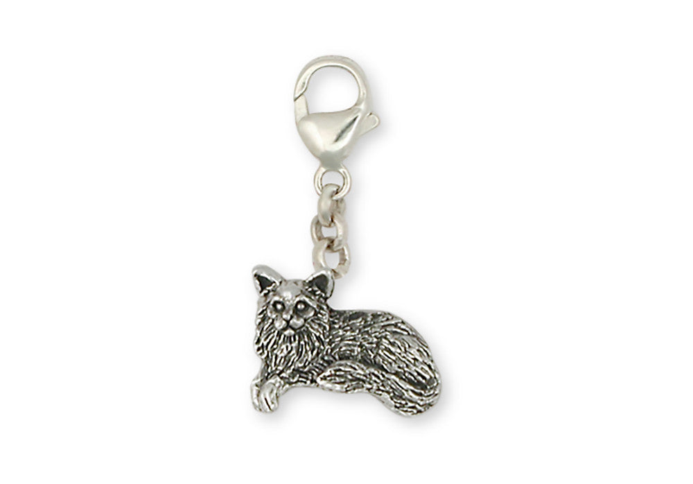 Maine Coon Cat Charms Maine Coon Cat Zipper Pull Handmade Sterling Silver Cat Jewelry Maine Coon Cat jewelry