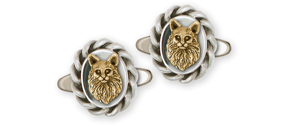 Maine Coon Charms Maine Coon Cufflinks Silver And 14k Gold Maine Coon Jewelry Maine Coon jewelry