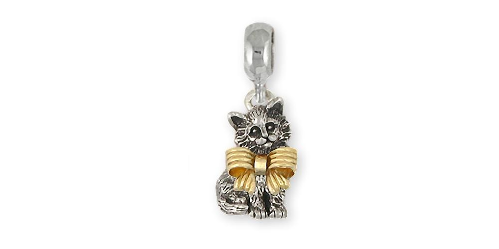 Maine Coon Charms Maine Coon Charm Slide Silver And 14k Gold Cat Jewelry Maine Coon jewelry