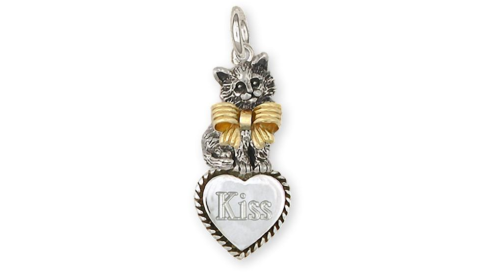 Maine Coon Charms Maine Coon Charm Silver And 14k Gold Cat Jewelry Maine Coon jewelry