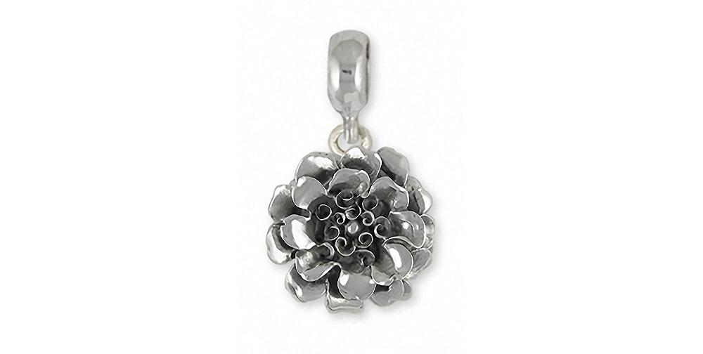 Marigold Charms Marigold Charm Slide Sterling Silver Flower Jewelry Marigold jewelry