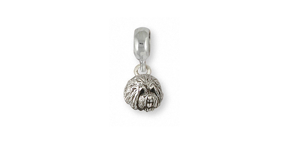 Old English Sheepdog Charms Old English Sheepdog Charm Slide Sterling Silver Dog Jewelry Old English Sheepdog jewelry