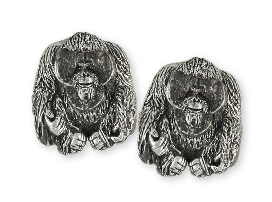 Orangutan Monkey Cufflinks Handmade Sterling Silver Jewelry OG1-CL