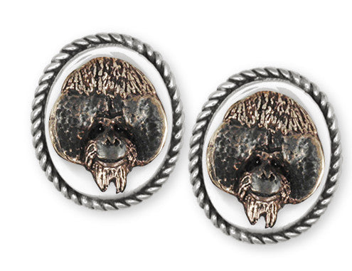Orangutan Monkey Cufflinks Sterling Silver And Yellow Bronze Jewelry OG1H-CL