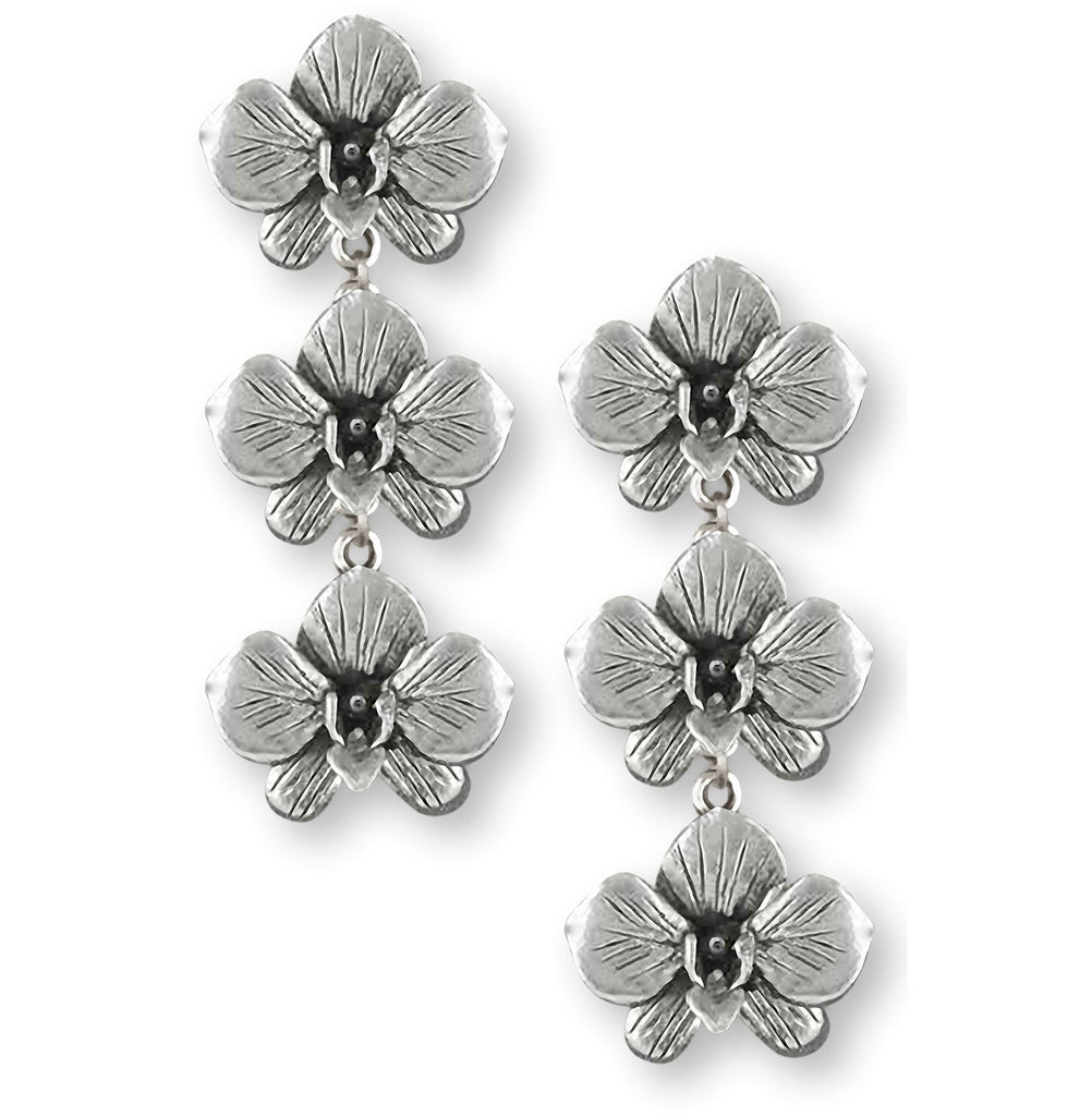 Orchid Charms Orchid Earrings Sterling Silver Orchid Flower Jewelry Orchid jewelry
