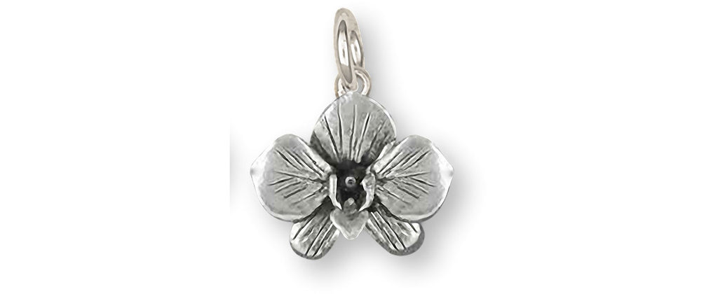Orchid Charms Orchid Charm Sterling Silver Orchid Flower Jewelry Orchid jewelry