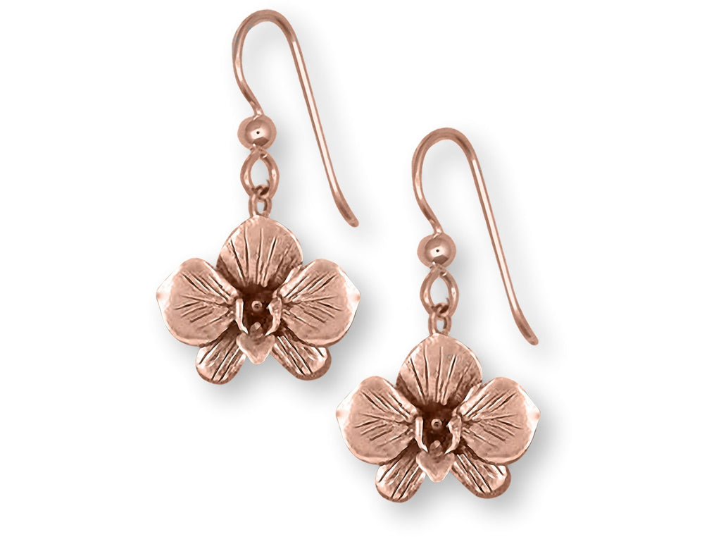 Orchid Charms Orchid Earrings 14k Rose Gold Vermeil Orchid Flower Jewelry Orchid jewelry