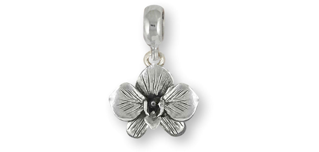 Orchid Charms Orchid Charm Slide Sterling Silver Orchid Flower Jewelry Orchid jewelry