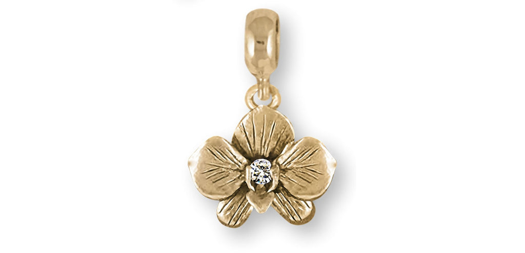 Orchid Charms Orchid Charm Slide 14k Gold Orchid Flower With Diamond Jewelry Orchid jewelry