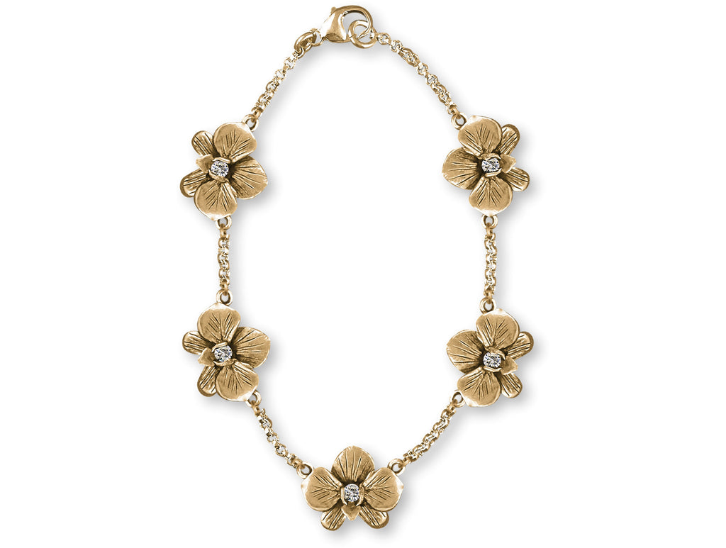 Orchid Charms Orchid Bracelet 14k Gold Orchid Flower With Diamonds Jewelry Orchid jewelry