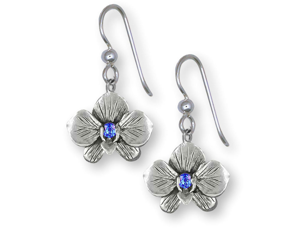 Orchid Charms Orchid Earrings Sterling Silver Orchid Flower Birthstone Jewelry Orchid jewelry