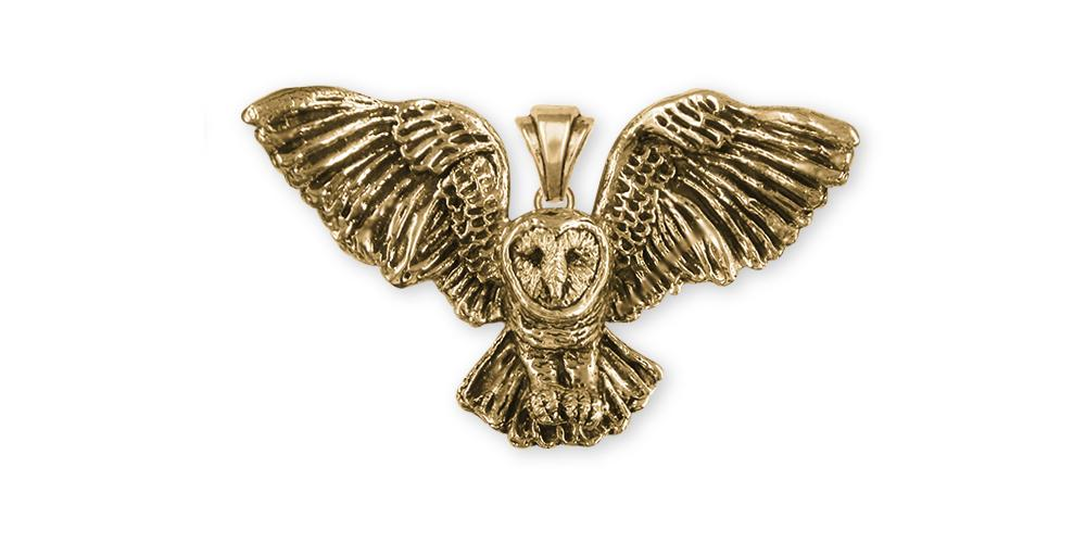 Barn Owl Charms Barn Owl Pendant 14k Gold Owl Jewelry Barn Owl jewelry