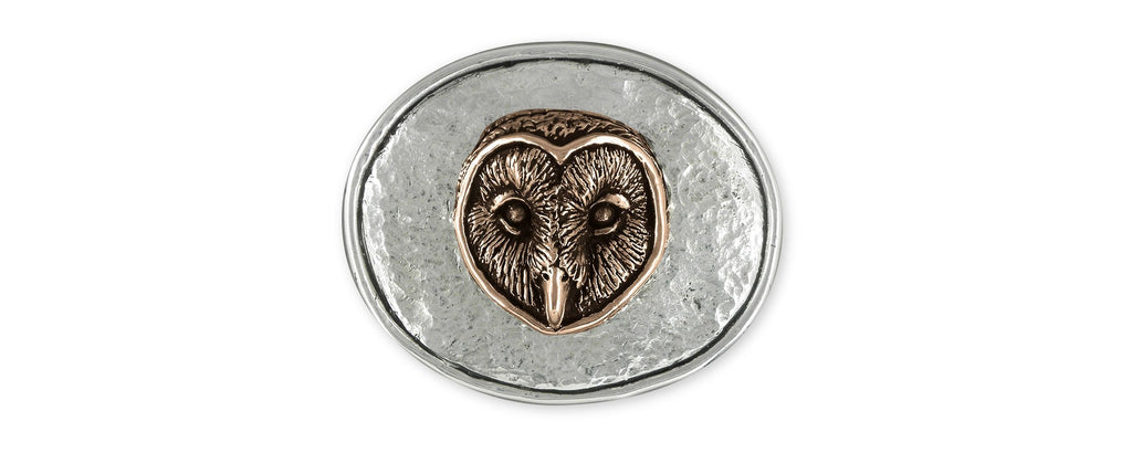 Owl Charms Owl Mans Belt Buckle Sterling Silver And Ancient Bronze Owl Jewelry Owl jewelry