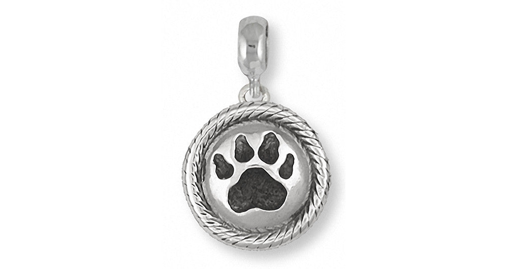 Dog Paw Charms Dog Paw Charm Slide Sterling Silver Dog Jewelry Dog Paw jewelry