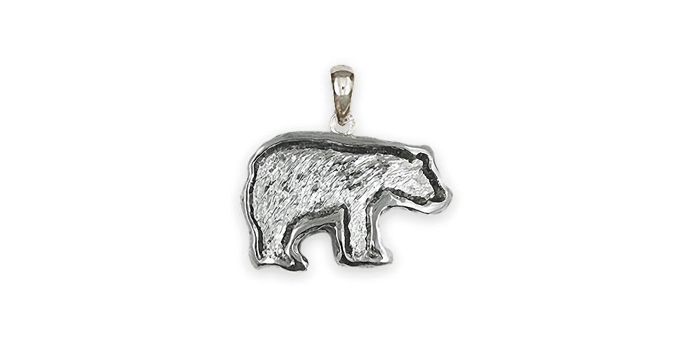 personalized Grizzly Bear Cufflinks in Handcrafted  Sterling Silver