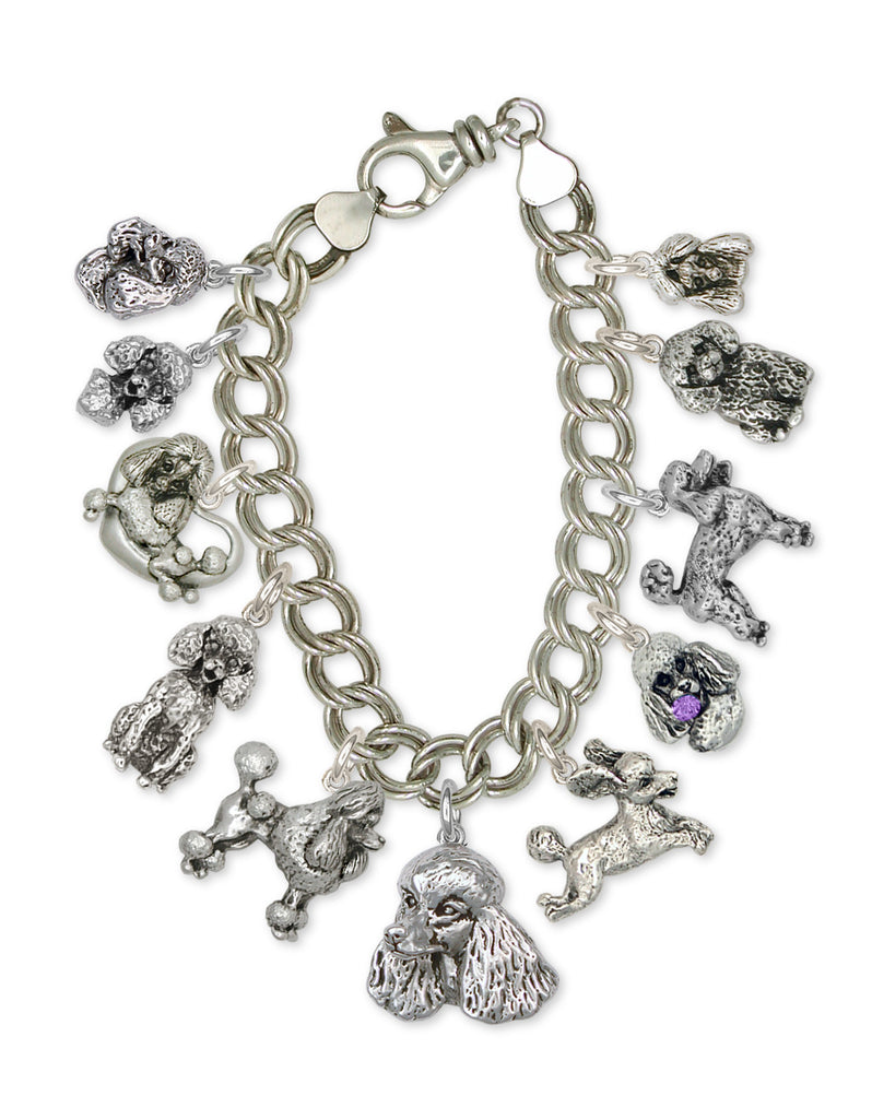 Poodle Charms Poodle Charm Bracelet Handmade Sterling Silver Dog Jewelry Poodle jewelry