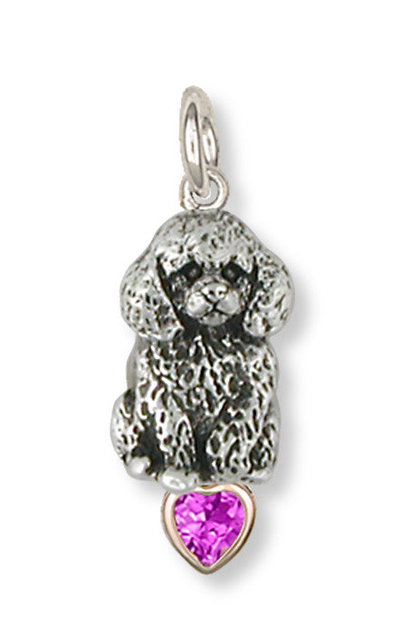 Poodle Charms Poodle Charm Silver And 14k Yellow Gold Dog Jewelry Poodle jewelry