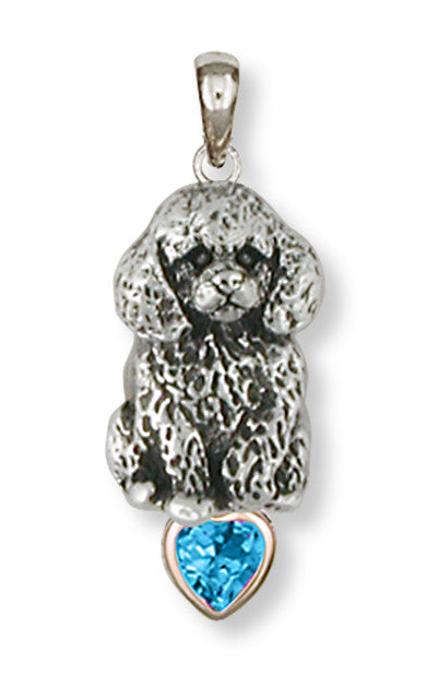Poodle Charms Poodle Personalized Pendant Silver And 14k Yellow Gold Dog Jewelry Poodle jewelry