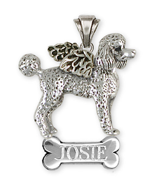 Poodle Angel Pendant Handmade Sterling Silver Dog Jewelry PD52A-NP