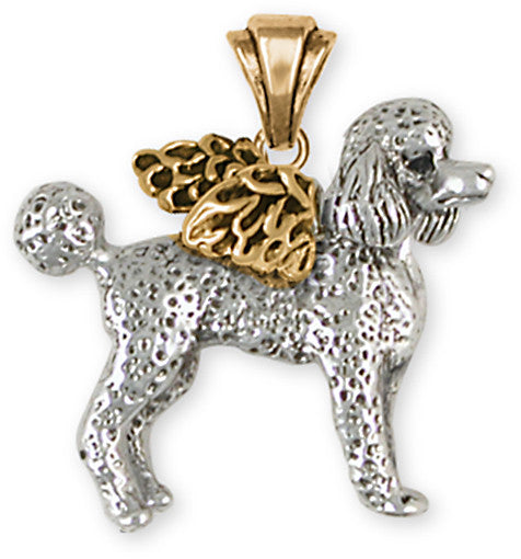 Poodle Angel Pendant 14k Two Tone Gold Vermeil Dog Jewelry PD52A-PVM