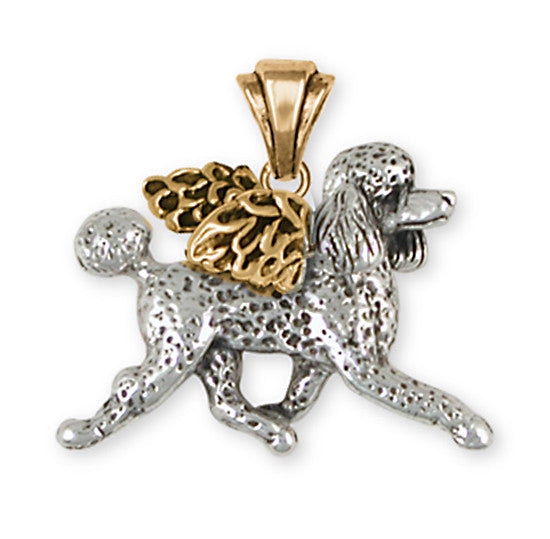 Poodle Angel Pendant 14k Two Tone Gold Vermeil Dog Jewelry PD53A-PVM