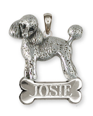 Poodle Personalized Pendant Handmade Sterling Silver Dog Jewelry PD55-NP
