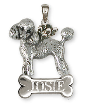 Poodle Angel Personalized Pendant Handmade Sterling Silver Dog Jewelry PD55A-NP