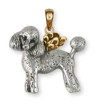 Poodle Angel Pendant 14k Two Tone Gold Vermeil Dog Jewelry PD55A-PVM