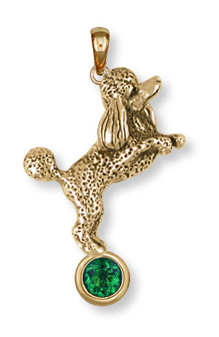 Poodle Birthstone Pendant 14k Yellow Gold Vermeil Dog Jewelry PD58-SPVM