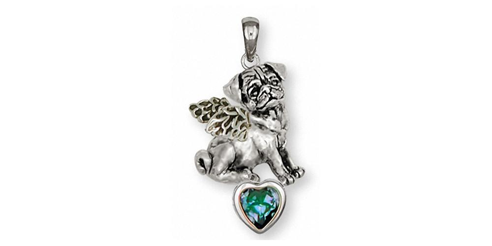 Pug Dog Pendant Silver And Gold Esquivel and Fees Handmade Charm