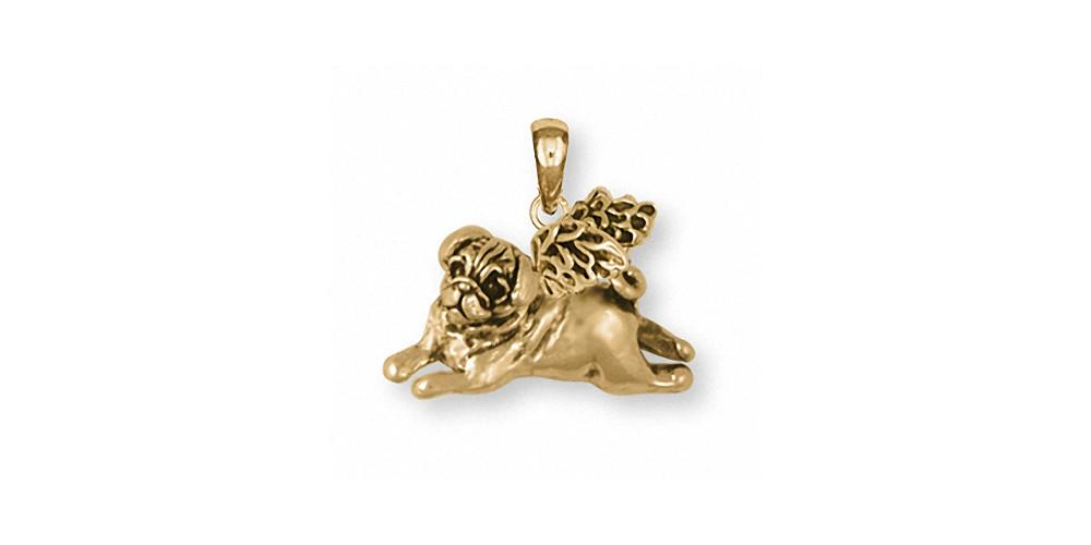 Pug Angel Dog Pendant 14k Gold Esquivel and Fees Handmade Charm