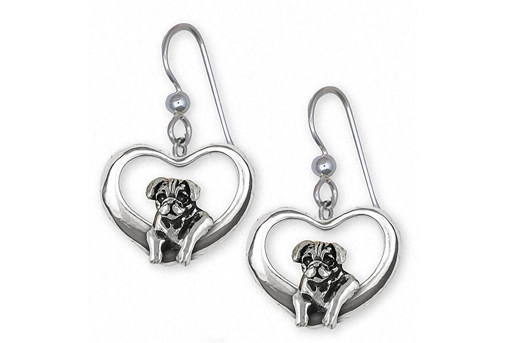 Pug Charms Pug Earrings Sterling Silver Dog Jewelry Pug jewelry